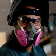 3m 6300 half face piece reusable respirator on face