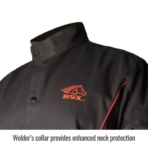 Black Stallion welders jacket black with flames collar