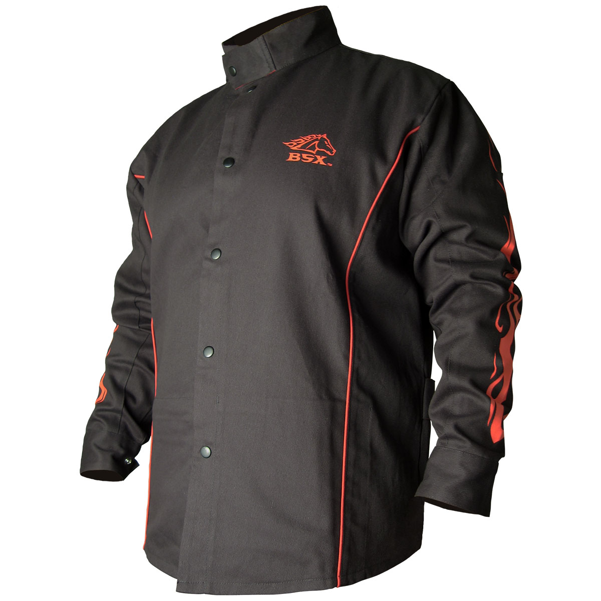 Black Stallion welders jacket black with flames