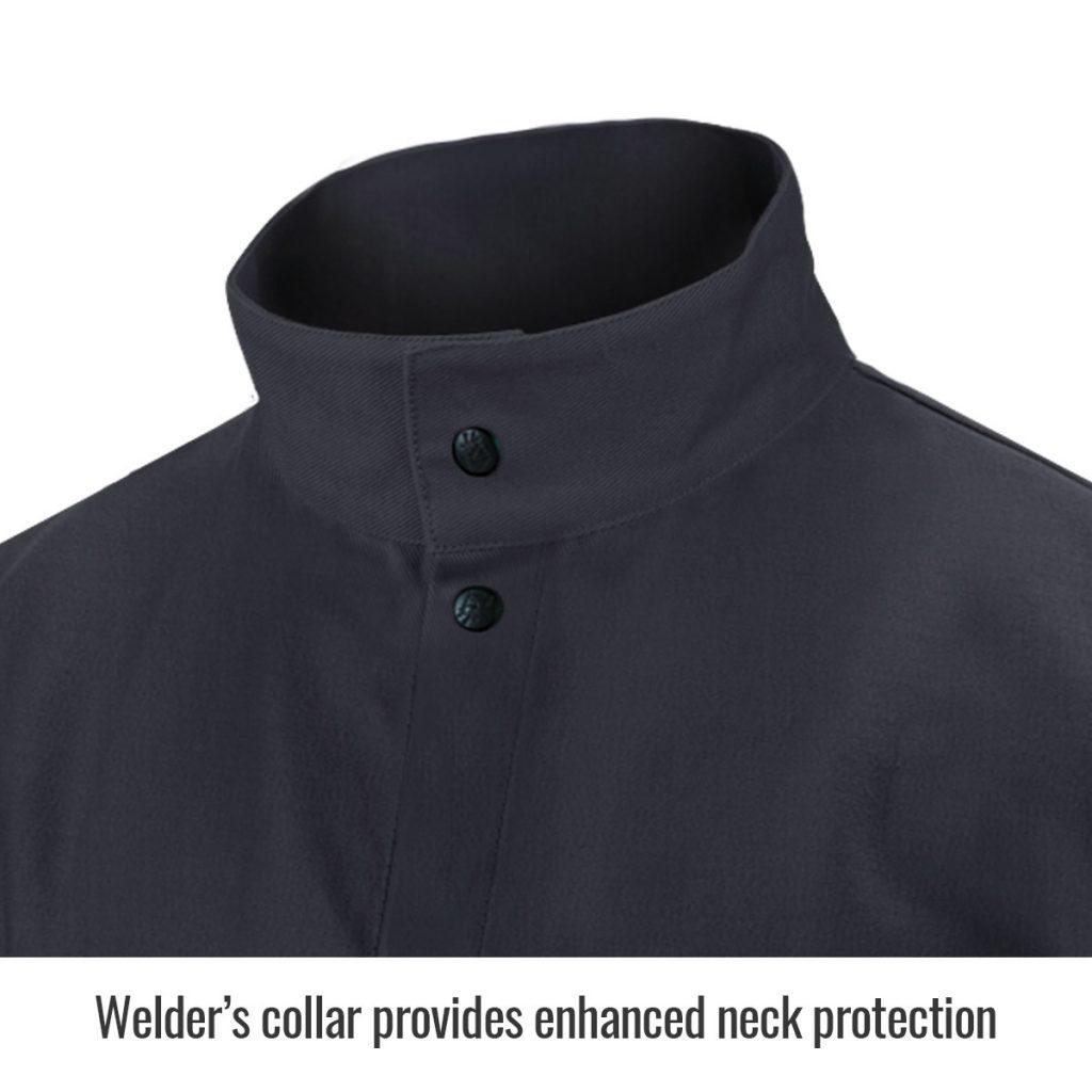 FBK9-30C black flame resistant jacket collar close up