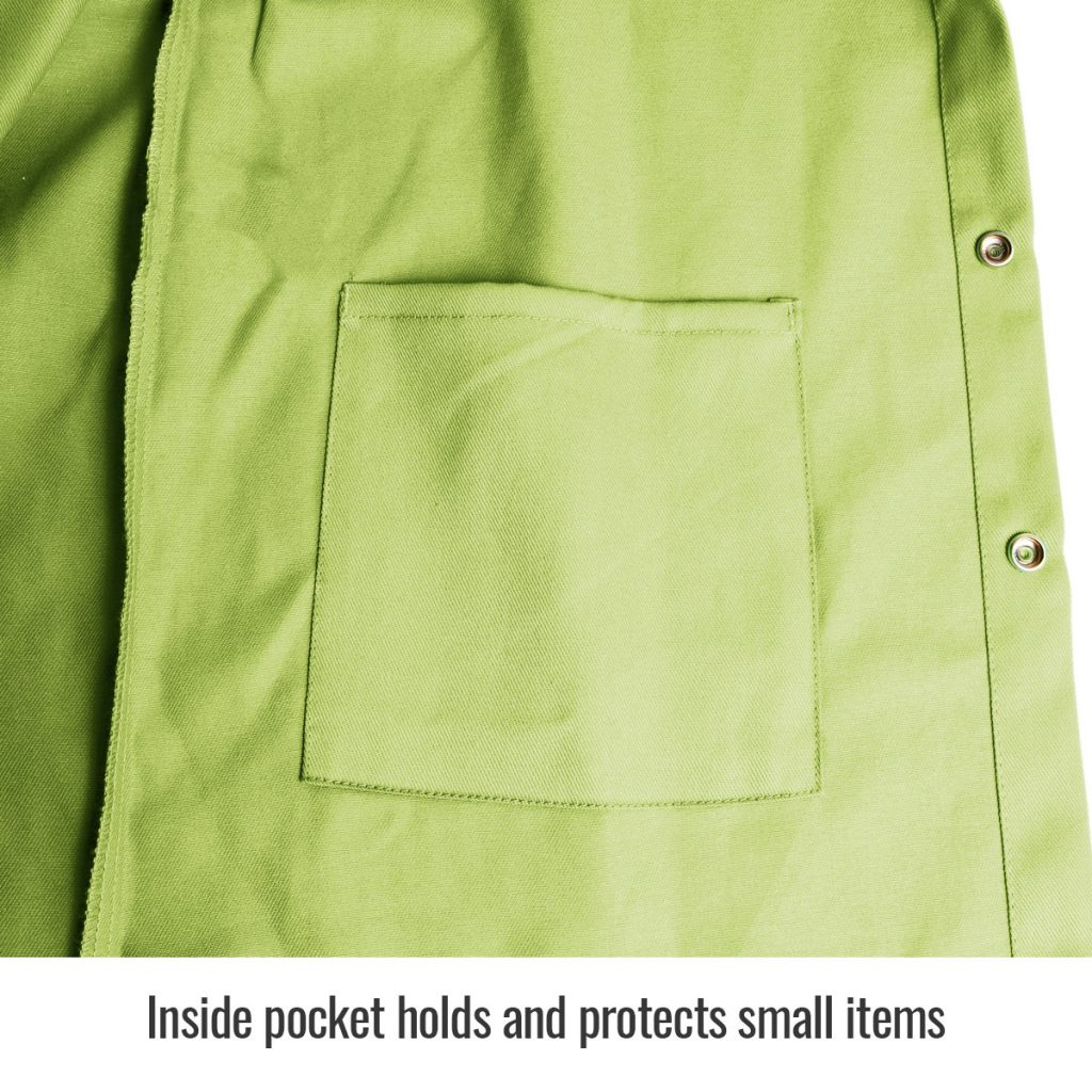 FL9-30C Welders jacket Lime Green inside pocket close up