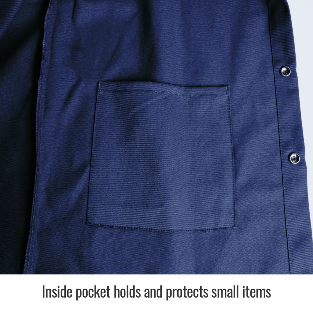 Black Stallion flame resistant cotton jacket navy blue inside pocket close up