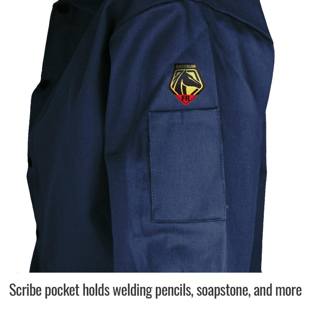 Black Stallion flame resistant cotton jacket navy blue side pocket close up