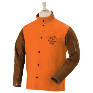 black stallion orange cotton and cowhide welding jacket