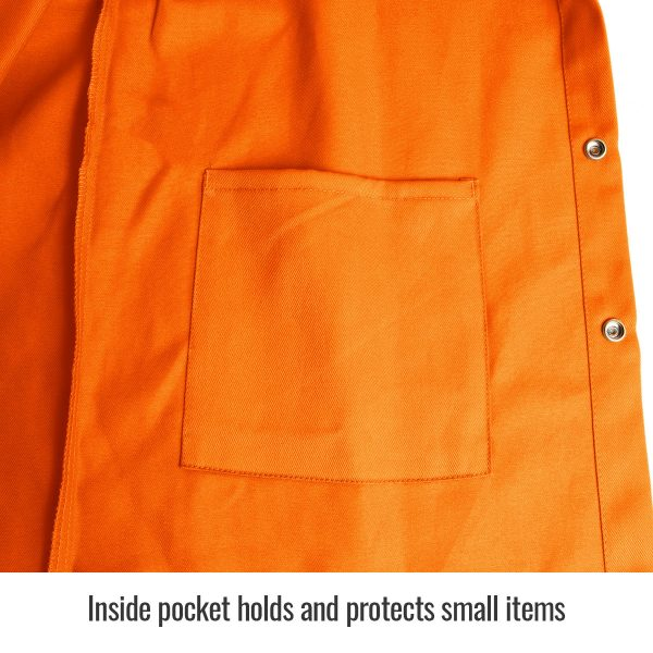 close up of inside pocket Black Stallion flame resistant jacket, orange