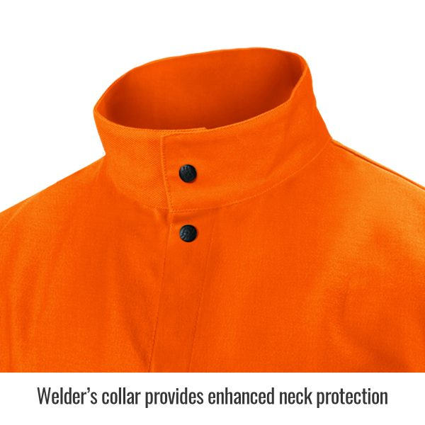 close up of collar Black Stallion flame resistant jacket, orange