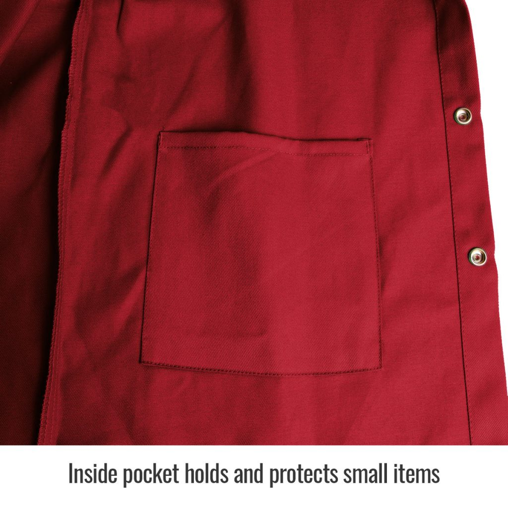 FR9-30C Red welders jacket inside pocket close up