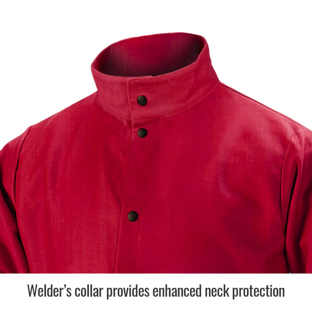 FR9-30C Red welders jacket close up of collar