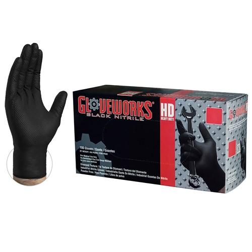 GWBN46100 black nitrile diamond grip gloves