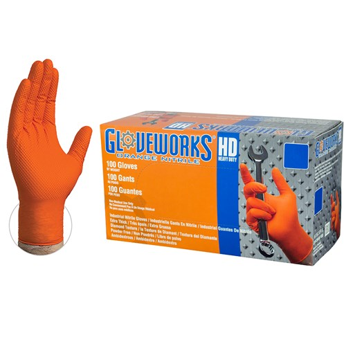 GWON46100 orange nitrile glove with diamond pattern