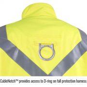 Black Stallion Hi Vis flame arc resistant cotton jacket hole for harness loop