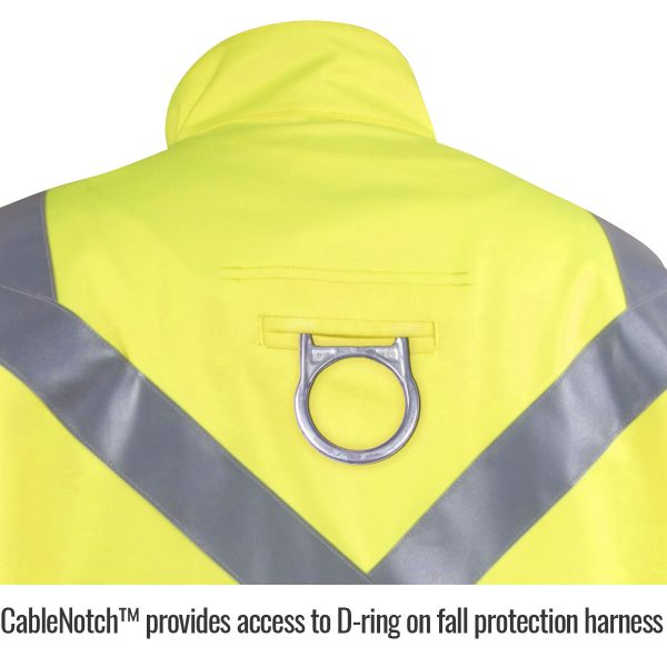 Black Stallion Hi Vis flame arc resistant cotton jacket hole for harness loop