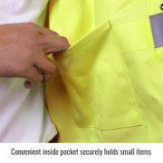 Black Stallion Hi Vis flame arc resistant cotton jacket inside pocket