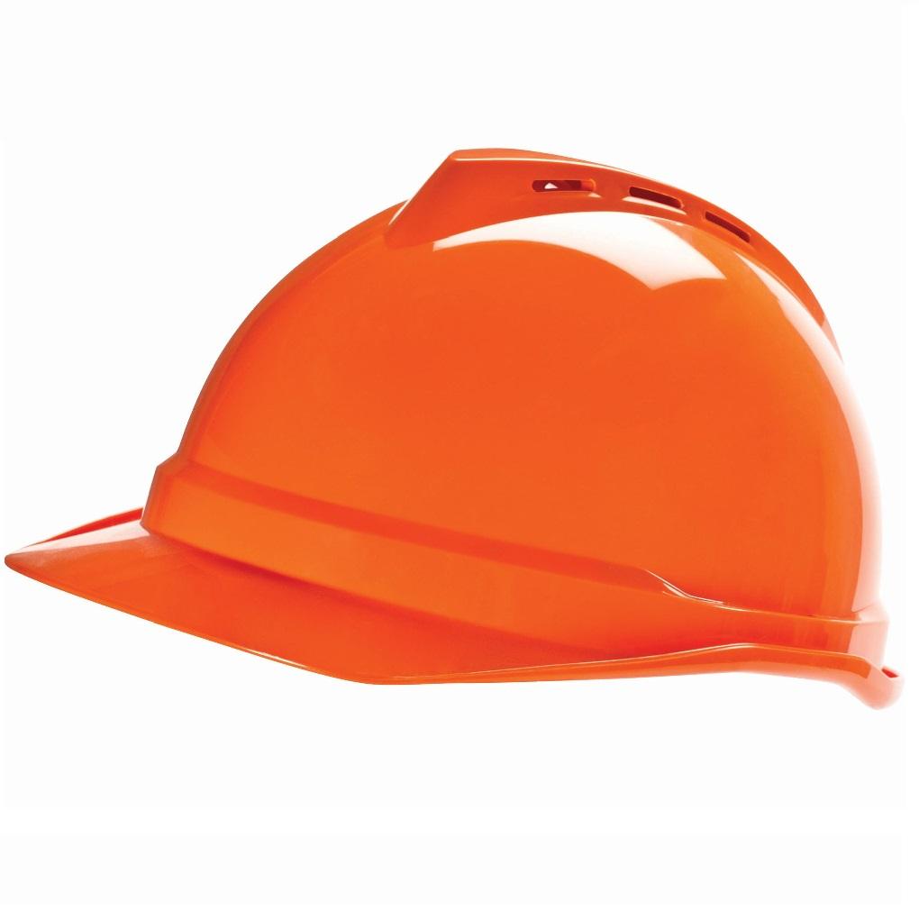 MSA orange vented hard hat