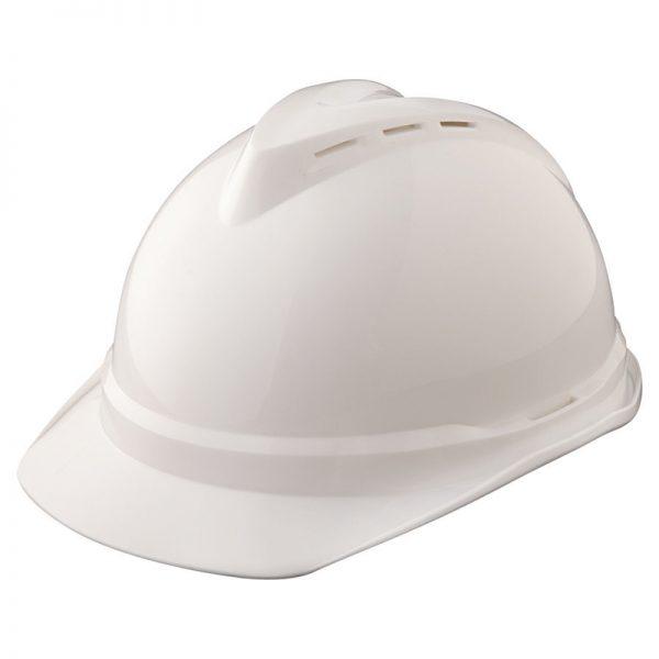 MSA white hard hat top view