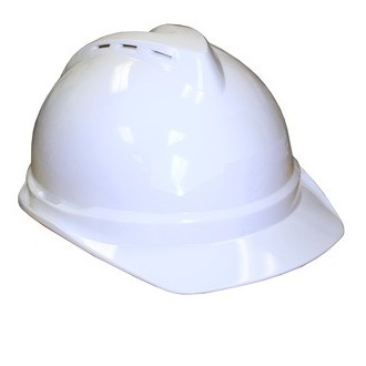 MSA v guard white hard hat