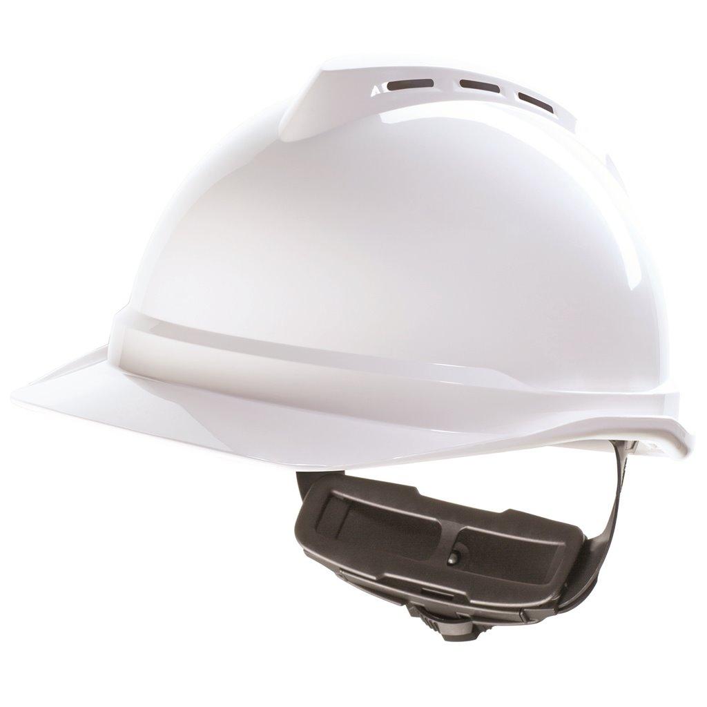 MSA white hard hat with ratchet