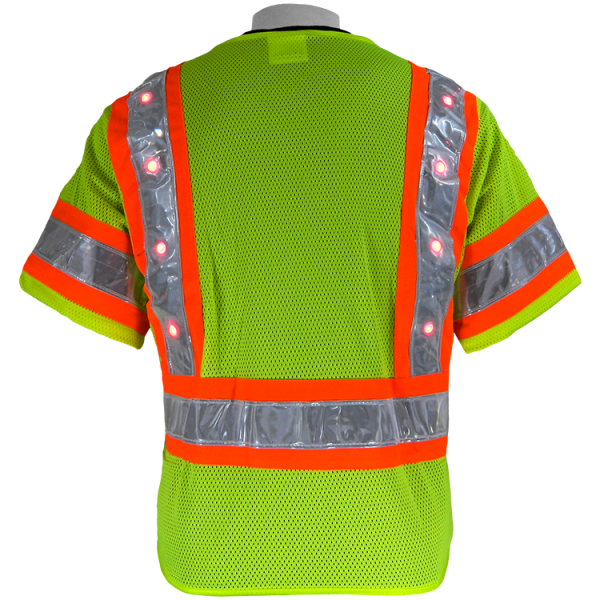 Global FrogWear GLO-12LED Safety Vest with LED lights, on, back