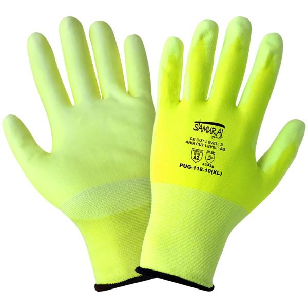 Global Glove PUG-118 High Visibility Poly Coated Cut Glove