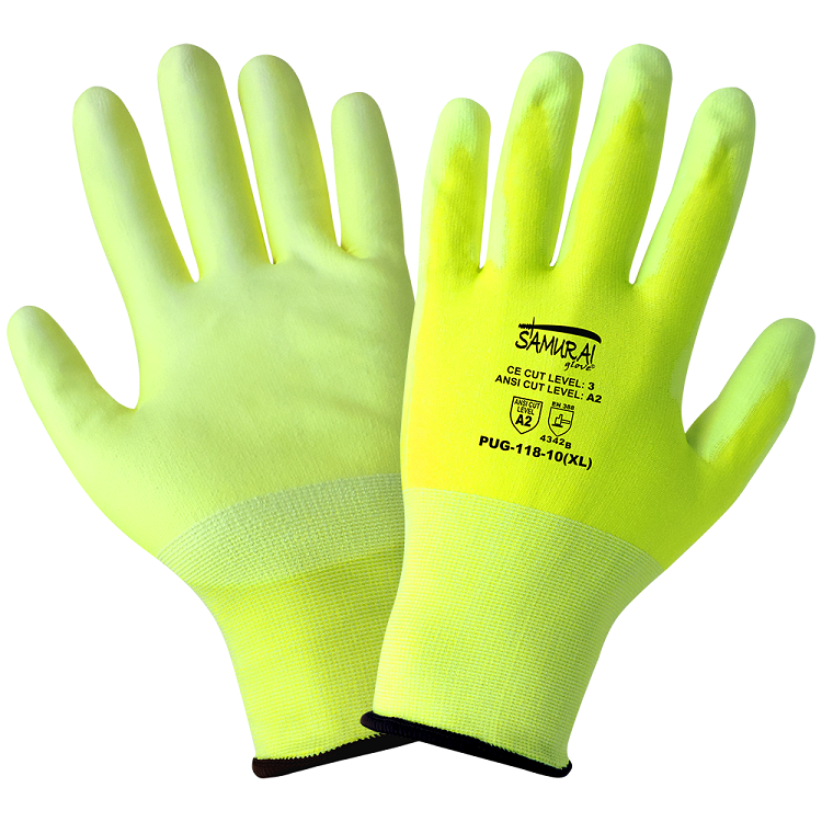 Global Glove PUG-118 High Visibility Poly Coated Cut Glove