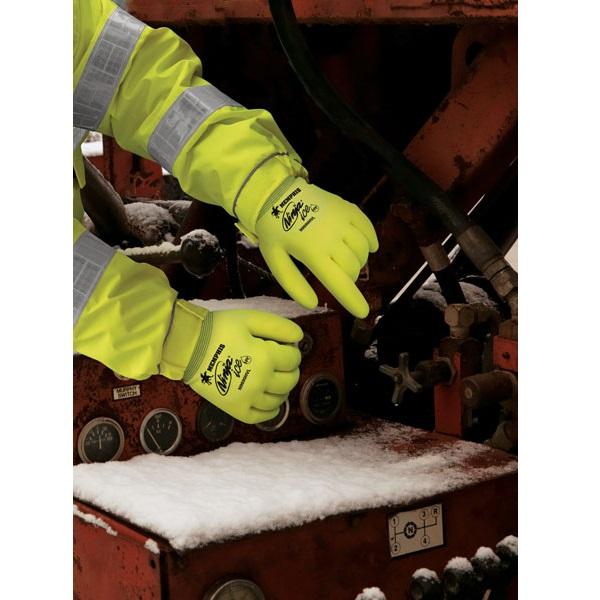 MCR Safety High Vis Ninja Ice Glove N9690HV in Action