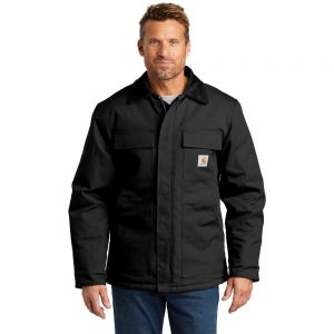 Carhartt Duck Traditional Coat CTC003 Black Front Model