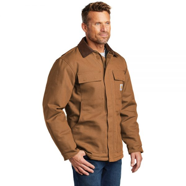Carhartt Duck Traditional Coat CTC003 Brown Side Model