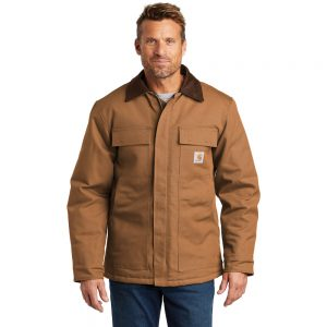 Carhartt Duck Traditional Coat CTC003 Brown Front Model
