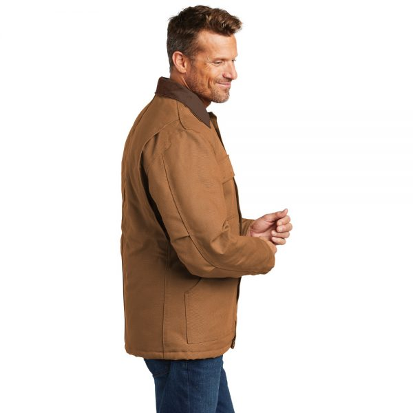 Carhartt Duck Traditional Coat CTC003 Brown Turned Model