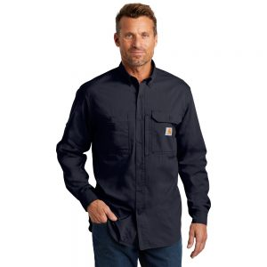 Carhartt Force Ridgefield Solid Long Sleeve Shirt Navy