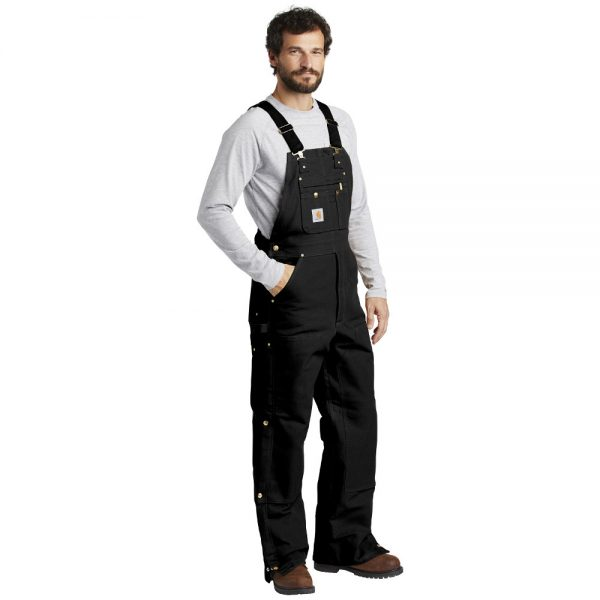 Carhartt Black CTR41 Overalls with Bib Man Angle