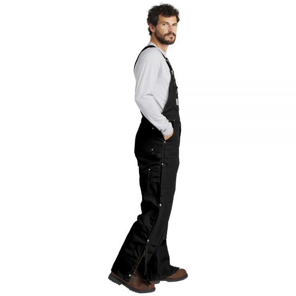 Carhartt Black CTR41 Overalls with Bib Man Side
