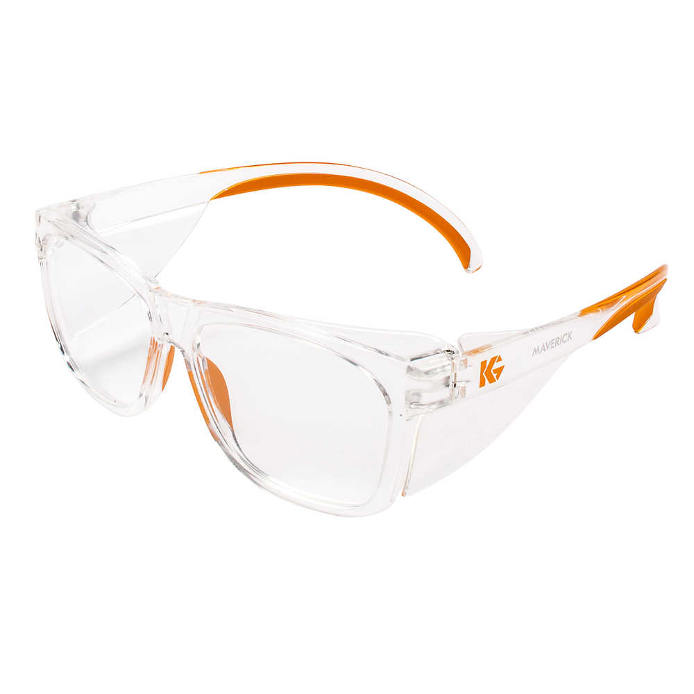 Kimberly-Clark KleenGuard Maverick Safety Glasses clear lens with orange accents
