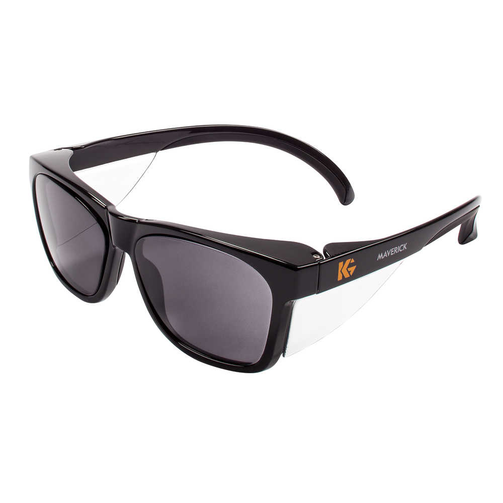 Kimberly-Clark KleenGuard Maverick safety glasses smoke lens black frame