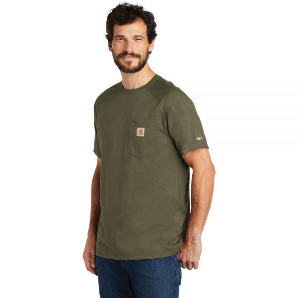 Carhartt Force Cotton Delmont Short Sleeve T-Shirt CT100410 Moss Man Angle