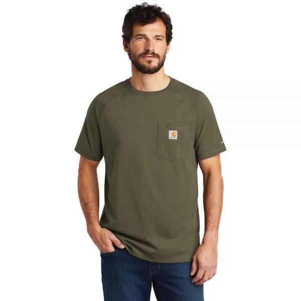 Carhartt Force Cotton Delmont Short Sleeve T-Shirt CT100410 Moss