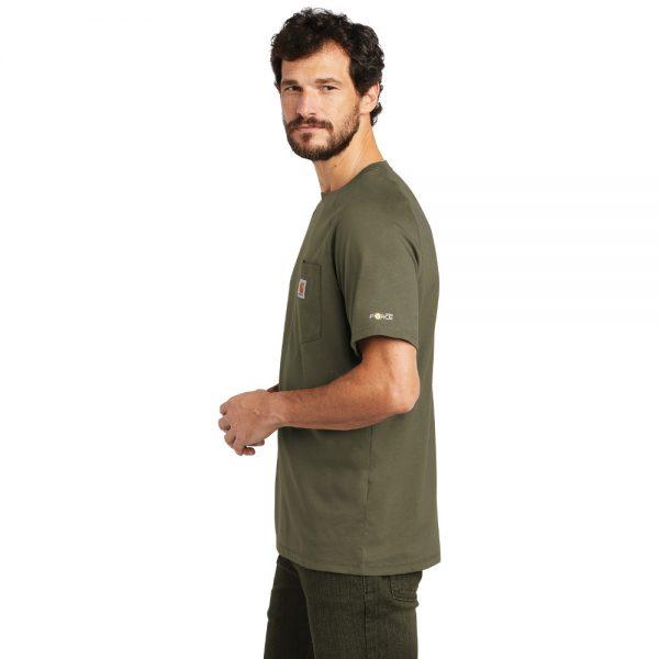 Carhartt Force Cotton Delmont Short Sleeve T-Shirt CT100410 Moss Man Side