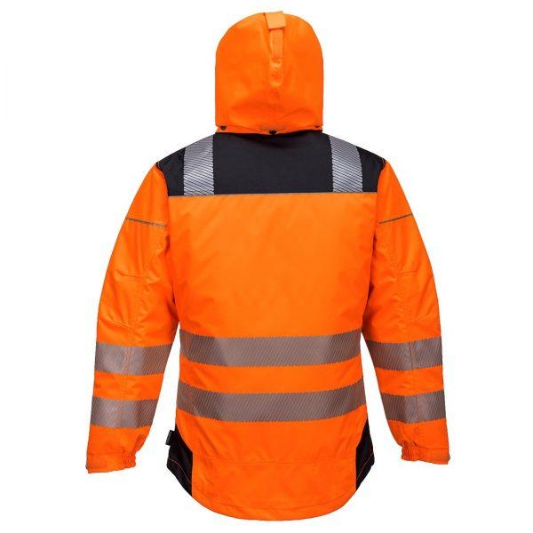 PortWest PW3 Hi-Vis Winter Jacket T400 Orange Back